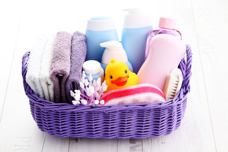 basket full of baby accessories - children
