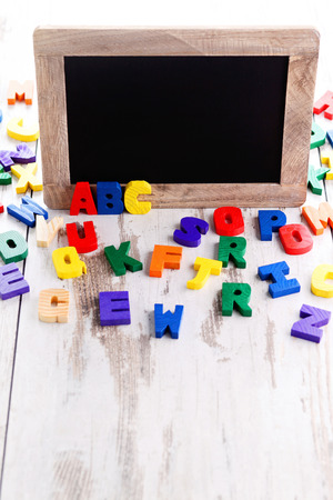 Wooden Alphabet Blocks As A Frame - Education Stock Photo, Picture ...