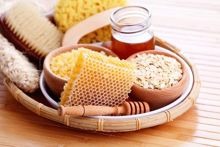 honey and spa treatment - beauty treatment Stock Photo