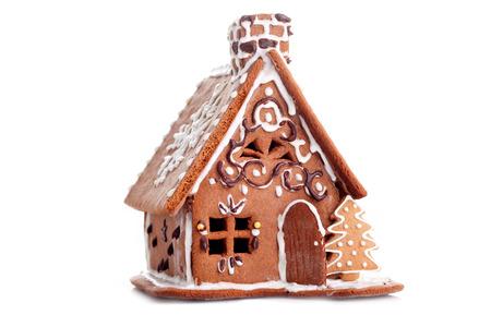 Maison de pain d'épice sur fond blanc - nourriture sucrée Banque d'images - 48550298