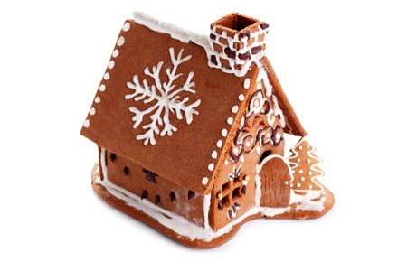 Gingerbread house on white background - sweet food Stock Photo
