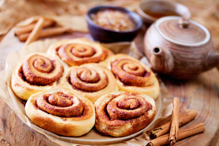 homemade delicious cinnamon rolls - sweet food Stock Photo