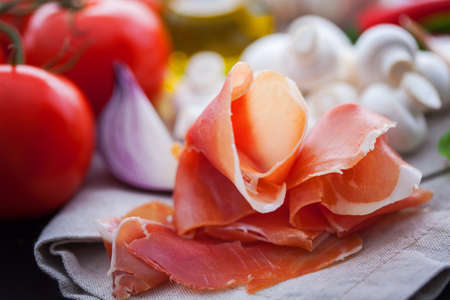 prosciutto di Parma and others ingredient for delicious pasta - food and drink