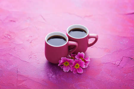 cup of spring coffee with primula flowers - food and drink