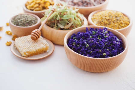 bowls full of different herbs and tea - alternative medicine