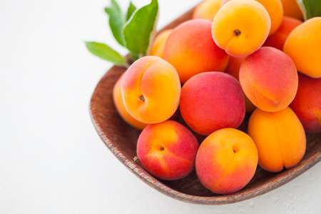 fresh apricots on white background - fruits and vegetables 写真素材