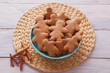bowl full of homemade gingerbread cookies - Christmas time