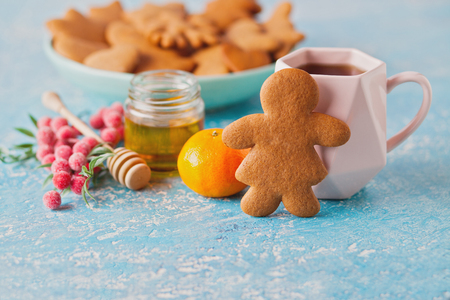 homemade gingerbread cookies - Christmas time Foto de archivo