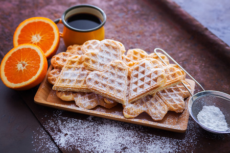 delicious homemade waffles with fruits - sweet food Banco de Imagens