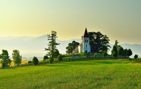 14th century: The gothic church St. Cosmas and Damian from 14th century in Abramova, slovakian region Turiec Stock Photo
