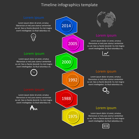 steppe: infographic timeline. Company history template. Biggest milestones and events with descriptions. Illustration