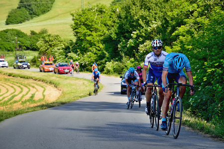 BANSKA BYSTRICA, SLOVAKIA - JUNE 08, 2017: Cyclists rising to the top of the hill on second stage of road cycling championship - Tour of Slovakia Stok Fotoğraf - 80294336