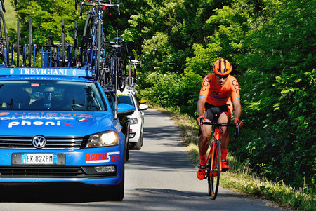 BANSKA BYSTRICA, SLOVAKIA - JUNE 08, 2017: Cyclists rising to the top of the hill on second stage of road cycling championship - Tour of Slovakia Editöryel