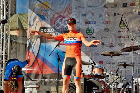 BANSKA BYSTRICA, SLOVAKIA - JUNE 08, 2017: Jan Tratnik from Slovenia celebrate leadership in general classification and points classification after second stage of road cycling championship - Tour of Slovakia Stok Fotoğraf - 80296461