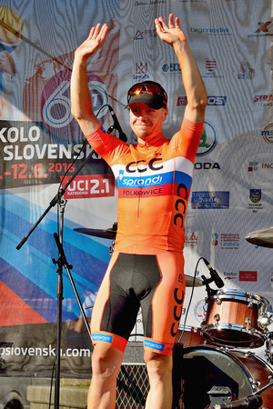 BANSKA BYSTRICA, SLOVAKIA - JUNE 08, 2017: Jan Tratnik from Slovenia celebrate leadership in general classification and points classification after second stage of road cycling championship - Tour of Slovakia Stok Fotoğraf - 80296462