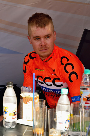BANSKA BYSTRICA, SLOVAKIA - JUNE 08, 2017: Jan Tratnik from Slovenia current  leader in general classification and points classification after second stage of road cycling championship - Tour of Slovakia Stok Fotoğraf - 80296463