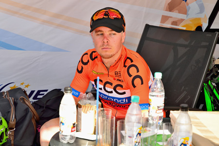 BANSKA BYSTRICA, SLOVAKIA - JUNE 08, 2017: Jan Tratnik from Slovenia current  leader in general classification and points classification after second stage of road cycling championship - Tour of Slovakia Stok Fotoğraf - 80296465