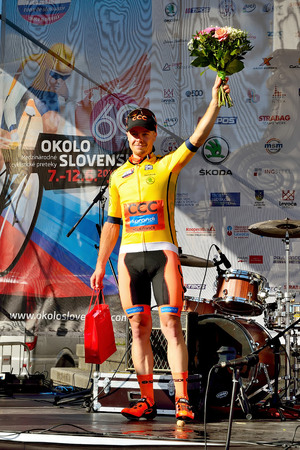 BANSKA BYSTRICA, SLOVAKIA - JUNE 08, 2017: Jan Tratnik from Slovenia celebrate leadership in general classification after second stage of road cycling championship - Tour of Slovakia