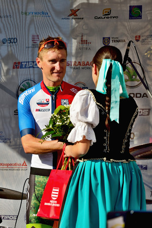 BANSKA BYSTRICA, SLOVAKIA - JUNE 08, 2017: Patrik Tybor from Slovakia celebrate leadership in best slovak rider classification after second stage of road cycling championship - Tour of Slovakia Stok Fotoğraf - 80296467