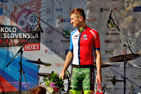 BANSKA BYSTRICA, SLOVAKIA - JUNE 08, 2017: Patrik Tybor from Slovakia celebrate leadership in best slovak rider classification after second stage of road cycling championship - Tour of Slovakia