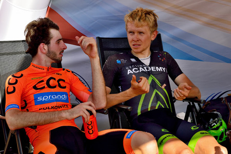 BANSKA BYSTRICA, SLOVAKIA - JUNE 08, 2017: Piotr Brozyna and Daniel Turek conversation after second stage of road cycling championship - Tour of Slovakia