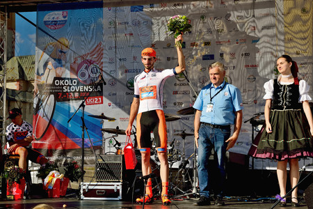 BANSKA BYSTRICA, SLOVAKIA - JUNE 08, 2017: Piotr Brozyna from Poland celebrate leadership in general classification after second stage of road cycling championship - Tour of Slovakia Stok Fotoğraf - 81330712