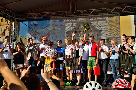 BANSKA BYSTRICA, SLOVAKIA - JUNE 08, 2017: winner statement after second stage of road cycling championship - Tour of Slovakia Stok Fotoğraf - 81330713