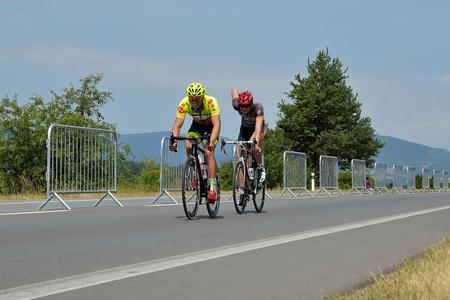 miserable: ZIAR NAD HRONOM, SLOVAKIA - JUNE 26, 2017: The Slovak and Czech National road cycling championship.