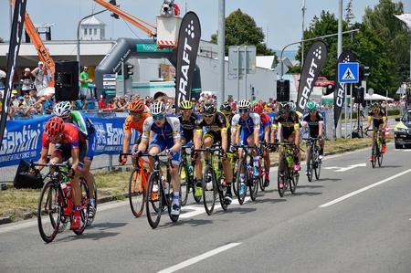 ZIAR NAD HRONOM, SLOVAKIA - JUNE 26, 2017: The Slovak and Czech National road cycling championship. Petr Vakoc, Roman Kreuziger, Juraj Sagan and Zdenek Stybar. Stok Fotoğraf - 81332393