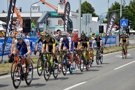 ZIAR NAD HRONOM, SLOVAKIA - JUNE 26, 2017: The Slovak and Czech National road cycling championship. Petr Vakoc, Roman Kreuziger, Juraj Sagan and Zdenek Stybar. Stok Fotoğraf - 81332394