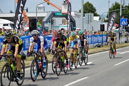 ZIAR NAD HRONOM, SLOVAKIA - JUNE 26, 2017: The Slovak and Czech National road cycling championship. Juraj Sagan and Zdenek Stybar. Stok Fotoğraf - 81332395