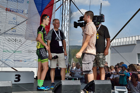 ZIAR NAD HRONOM, SLOVAKIA - JUNE 26, 2017: The Slovak and Czech National road cycling championship. Winner decoration ceremony and cultural program Stok Fotoğraf - 81333355