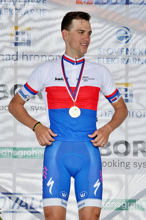 ZIAR NAD HRONOM, SLOVAKIA - JUNE 26, 2017: The Slovak and Czech National road cycling championship. Medail ceremony. Zdenek Stybar from Quick Step Floors cycling team with gold medail Editöryel