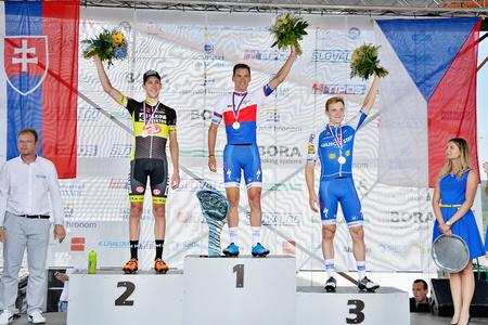 ZIAR NAD HRONOM, SLOVAKIA - JUNE 26, 2017: The Slovak and Czech National road cycling championship. Elite category medail ceremony. Petr Vakoc and Zdenek Stybar