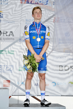 slovak: ZIAR NAD HRONOM, SLOVAKIA - JUNE 26, 2017: The Slovak and Czech National road cycling championship. Medail ceremony. Petr Vakoc from Quick Step Floors cycling team with bronze medail