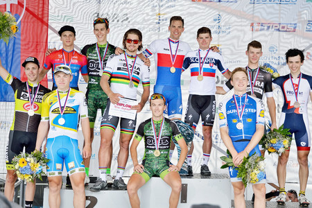 ZIAR NAD HRONOM, SLOVAKIA - JUNE 26, 2017: The Slovak and Czech National road cycling championship. Medail ceremony. Free public meeting