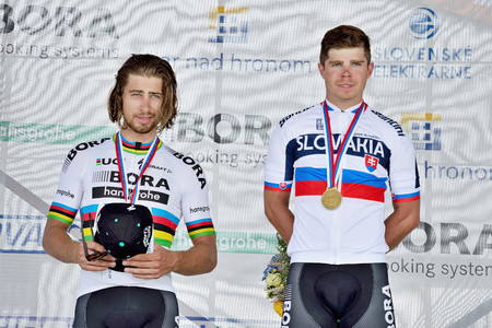 ZIAR NAD HRONOM, SLOVAKIA - JUNE 26, 2017: The Slovak and Czech National road cycling championship. Medail ceremony. Sagan brothers from Bora Hansgrohe cycling team with gold and silver medail. Free public meeting Stok Fotoğraf - 82045631