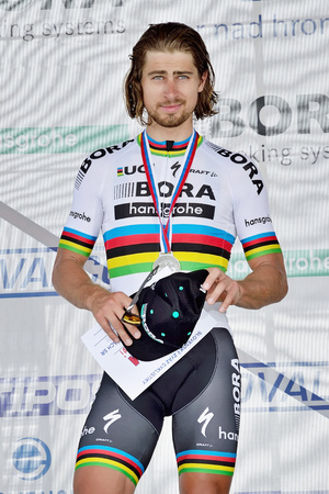 ZIAR NAD HRONOM, SLOVAKIA - JUNE 26, 2017: The Slovak and Czech National road cycling championship. Medail ceremony. Peter Sagan, Bora Hansgrohe cycling team with silver medail. Free public meeting Editöryel