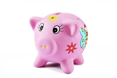 Pink piggy bank on white background with no money. Child moneybox.