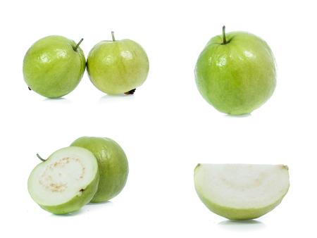 Guava isolated on white background(set)