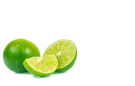 tropica: copy space green lemon isolated on white