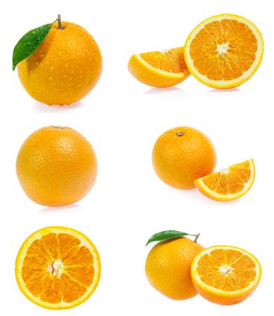 Set of orange isolated on white background