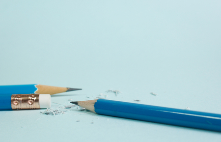 Closeup of pencil eraser , soft focus. Mistake erase concept Reklamní fotografie - 89905731