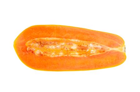 half papaya isolated on white Stock Photo