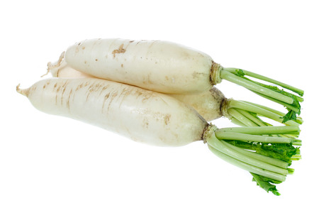 White radish isolated on white background