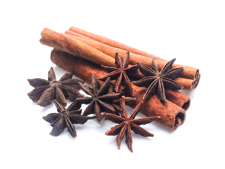 cinnamon stick and star anise  isolated on white background Stock Photo