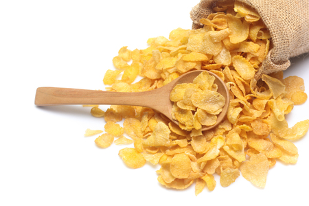 Cornflakes in sack  isolated on white background