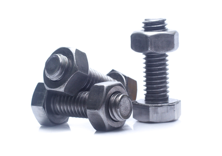 bolt and nut isolated on white background Archivio Fotografico