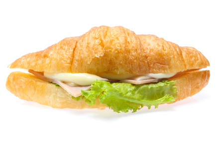 croissant sandwich with ham isolated on white background