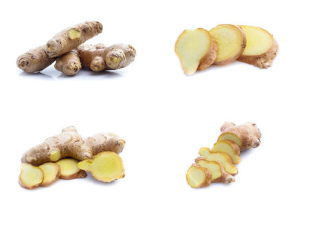 Ginger root on a white background.Collage